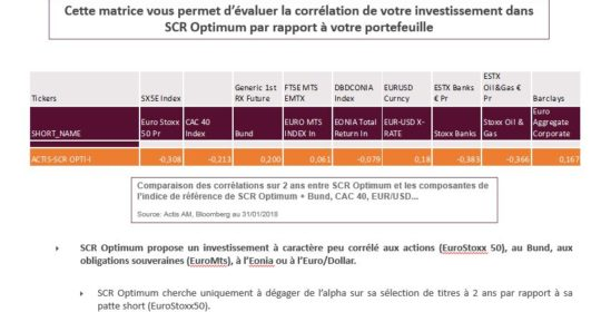 SCR Optimum : L/S Equity Market Neutral, Matrice de corrélation 01/2018